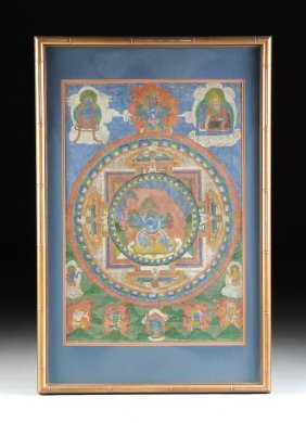 A Tibetan Polychrome Painted Thangka, Late 19th/early