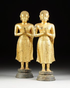 A Pair Of Thai Gilt Bronze Standing Figures Of Buddha,
