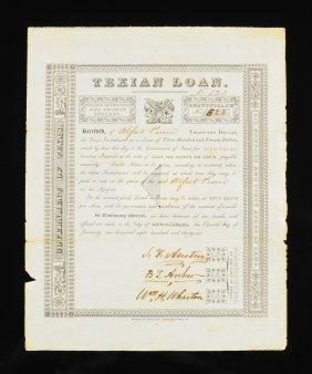 Stephen F. Austin Texian Loan Certificate, Signed,