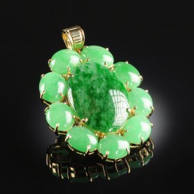 An 18k Yellow Gold And Jadeite Jade Lady's Pendant,
