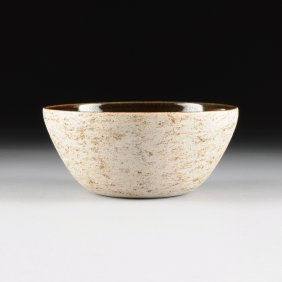 A Brown And Eggshell Glazed Porcelain Center Bowl,