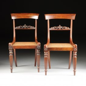 A Set Of Six Danish Biedermeier Mahogany Side Chairs,