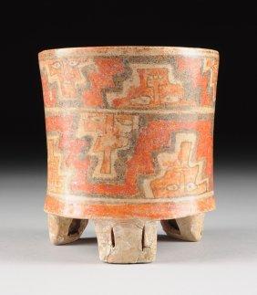 A Pre-columbian Polychrome Tripod Vessel, Possibly