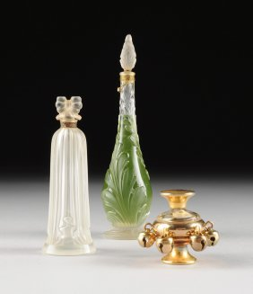 A Group Of Three Vintage Glass Perfume Bottles, For