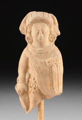 A Rare Pre-columbian Ceramic Rattle, Mayan, Jaina, Late