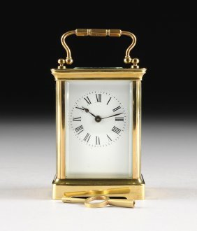 An Antique French Polished Brass Carriage Clock, Early