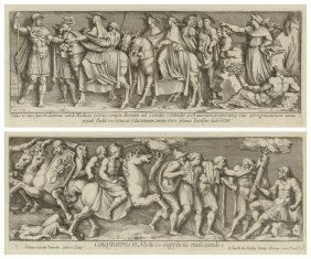 Two Etchings Portraying Scenes From Roman Sculptural