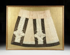 A Chinese Polychrome Embroidered Silk Skirt, Late
