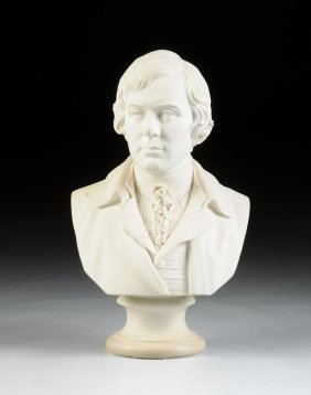 A Fine English Parian Ware Bust Of Robert Burns