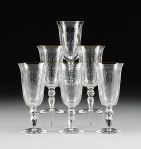 A Set Of Six Waterford Cut Crystal And Gold Rim Water