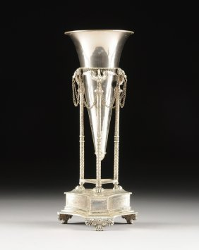 A Neoclassical Style Silver Plated Vase On Tripod