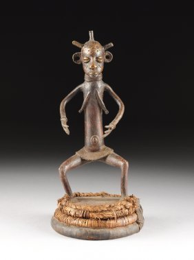An African Tribal Bronze Female Figure, Possibly Yoruba
