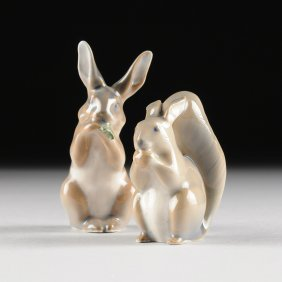 Two Royal Copenhagen Porcelain Figures, Green Maker's M
