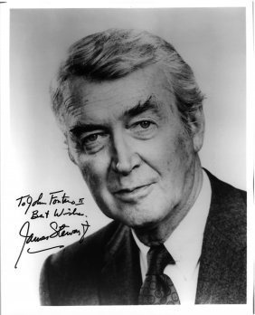"A James Stewart Autographed And Inscribed 8"" X 10"""