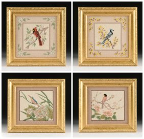 A Group Of Four Needlepoint Bird Pictures,