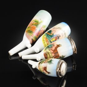 A Group Of Four German Polychrome Decorated Porcelain