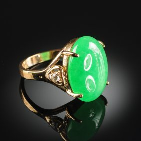 A 14k Gold Plated And Apple Green Jade Lady's Ring,
