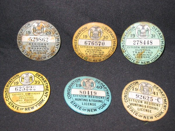 152 6 pins nys hunting fishing licenses 1929 1941 lot 152 for Nys fishing license online