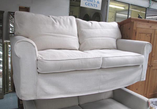 SOFA Two Seater With Loose Gold Throw Over Cover Lot 115