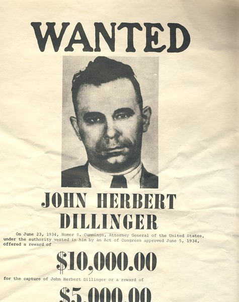 Rare Outdoor John Dillinger Fbi Wanted Poster Lot 7