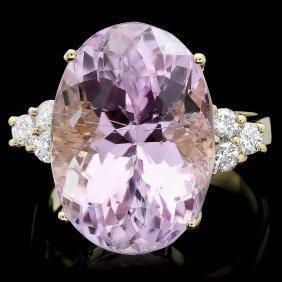 14k Gold 15.50ct Kunzite 0.35ct Diamond Ring