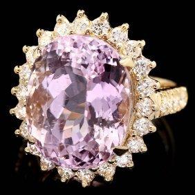 14k Gold 16.50ct Kunzite 1.35ct Diamond Ring