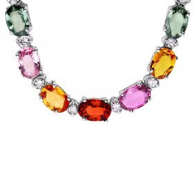 14k Gold 27ct Sapphire 1.20ct Diamond Necklace