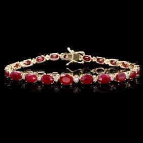14k Gold 16.00ct Ruby 0.55ct Diamond Bracelet