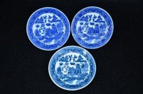 3 Pics Chinese Export B/w Kraak Saucers