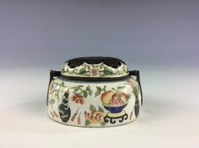 Fine Chinese Hand Warmer, Enamel On Copper Base. Marked
