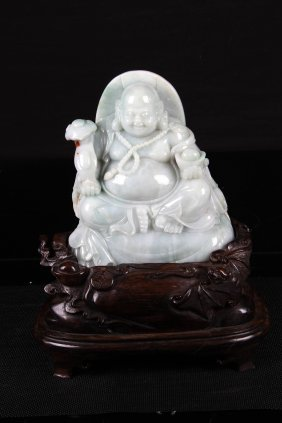[chinese]a Jadeite Carved Buddha With Hardwood