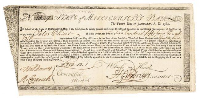 treasury certificate 1780 revolutionary war ma