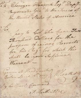 1777 William Heath Continental Army Maj General