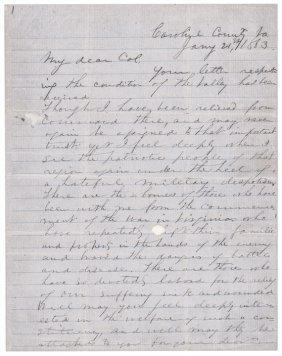 Autographed Letter Thomas (stonewall) Jackson