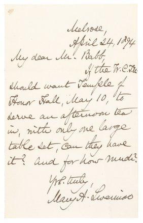 Women Temperance Mary Livermore Autograph Letter