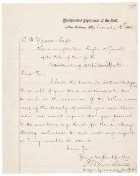 1866 Maj. Gen. Philip Sheridan Autograph Letter