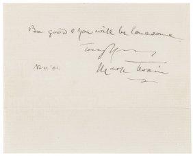 1901 Mark Twain Autograph Aphorism Signed