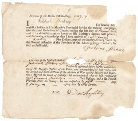 1760 French And Indian War Soldier's Enlistment