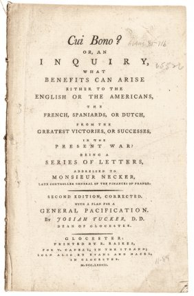 American Revolution 1st Published Plan For Peace