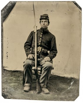 Civil War Armed Union Soldier Tintype Photograph