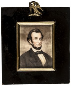 C 1865 Pres. Abraham Lincoln Miniature Painting