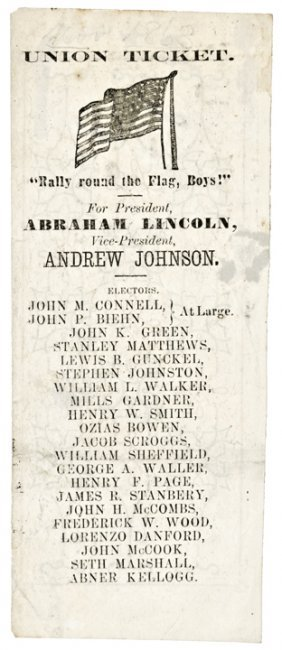 1864 A Lincoln Rally Round The Flag, Boys Ticket