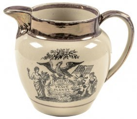 C. 1796 Patriotic Strawberry Lusterware Pitcher