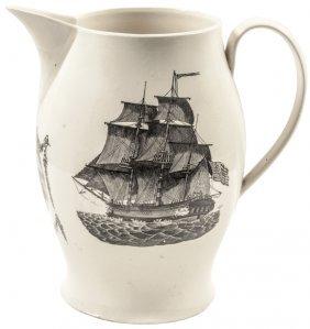 C 1800 George Washington Liverpool Creamware Pitcher