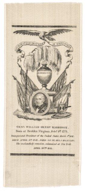 1841 William Henry Harrison Silk Memorial Ribbon