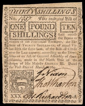 Colonial Currency 1769 Pa Note Signed John Nixon
