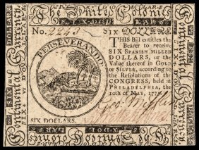 Continental Currency, May 10, 1775 $6 Choice Cu