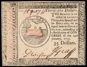 Continental Currency, Jan. 14, 1779 $35 Ch. Cu
