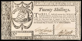 Colonial Currency Ga. October 16, 1786 20s Au-55