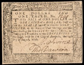 Colonial Currency. Md. August 14, 1776 $1 1/3 Vf
